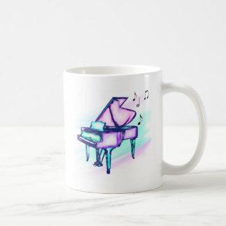 Notas coloridas de la acuarela y de la música del taza