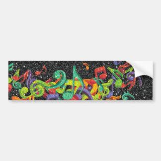 notas coloridas de la música del brillo y efectos  pegatina para auto