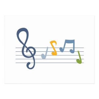 Notas coloridas de la música del dibujo animado tarjetas postales