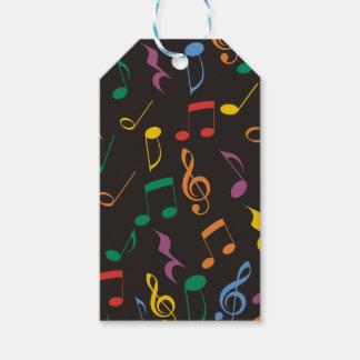 Notas coloridas de la música etiquetas para regalos