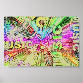 Notas coloridas de la música poster