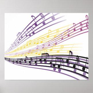 notas coloridas de la música póster