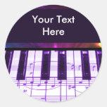 Notas coloridas del teclado y de la música de pegatinas redondas