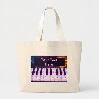 Notas coloridas del teclado y de la música de pian bolsa tela grande