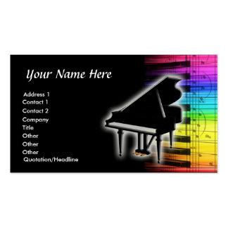 Notas coloridas del teclado y de la música de pian tarjeta de visita