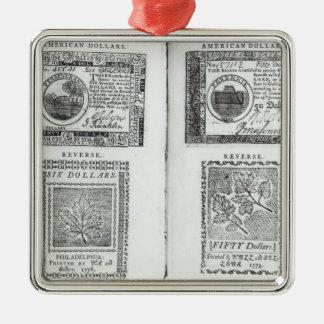 Notas de la moneda continental adorno navideño cuadrado de metal