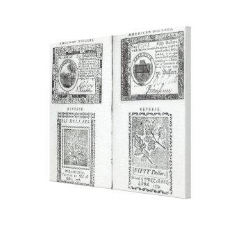 Notas de la moneda continental lona envuelta para galerias