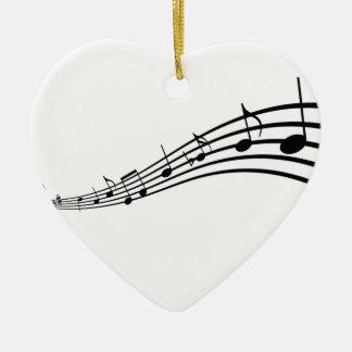 Notas de la música adorno navideño de cerámica en forma de corazón