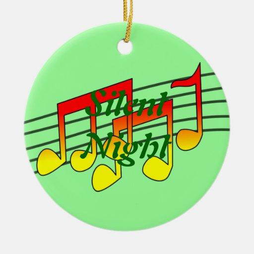 notas de la música adorno navideño redondo de cerámica