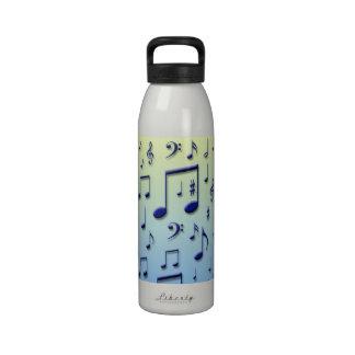 Notas de la música botella de agua reutilizable