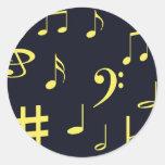 Notas de la música - amarillo en negro pegatina redonda