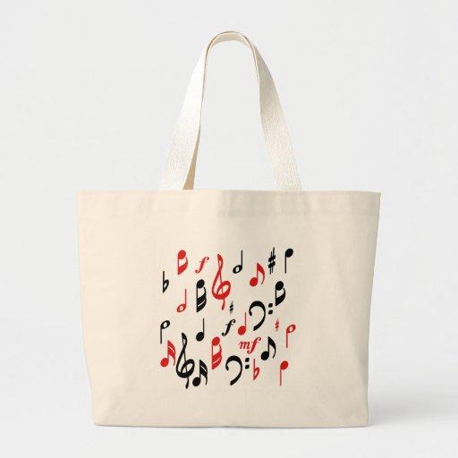Notas de la música bolsa tela grande