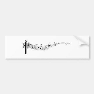 notas de la música con los pájaros pegatina para auto