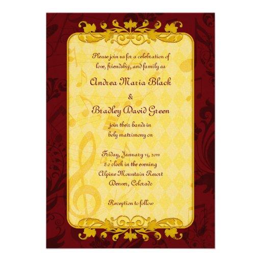 Notas de la música de Borgoña y del oro que casan  Comunicados Personalizados
