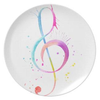 Notas de la música de la acuarela plato para fiesta