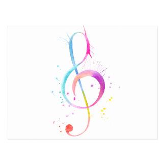 Notas de la música de la acuarela tarjeta postal