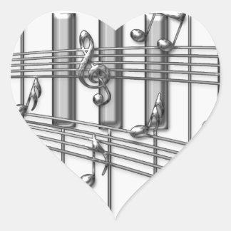 Notas de la música de la plata del teclado de pegatina en forma de corazón