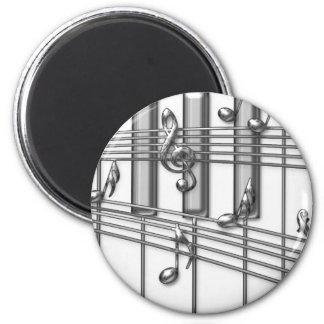 Notas de la música de la plata del teclado de pian imanes de nevera