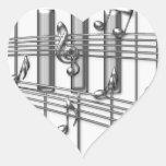Notas de la música de la plata del teclado de pian colcomanias de corazon