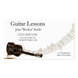 Notas de la música de las lecciones de la guitarra tarjetas de visita