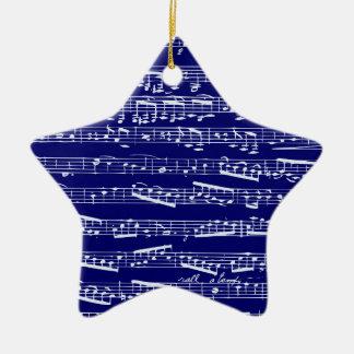 Notas de la música de los azules marinos adorno navideño de cerámica en forma de estrella