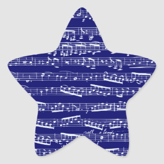 Notas de la música de los azules marinos pegatina en forma de estrella