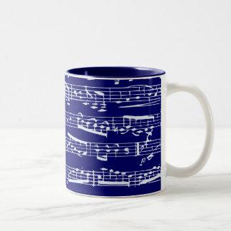 Notas de la música de los azules marinos tazas