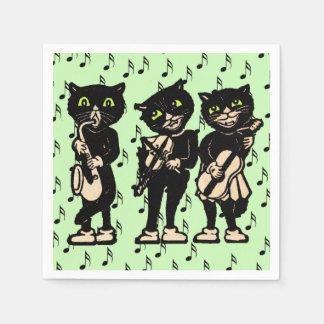 Notas de la música de los gatos negros del músico servilletas de papel