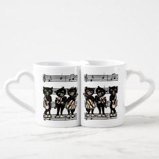 Notas de la música de los gatos negros del músico set de tazas de café