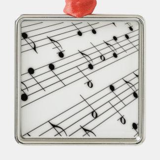 Notas de la música adorno cuadrado plateado