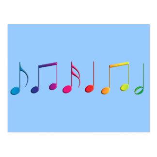 Notas de la música del arco iris postal