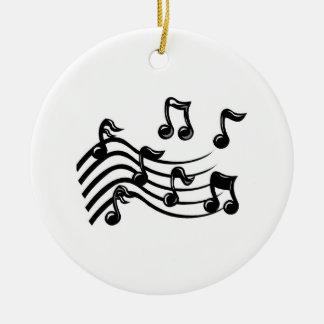 Notas de la música del navidad adorno navideño redondo de cerámica