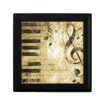 Notas de la música del piano joyero cuadrado pequeño