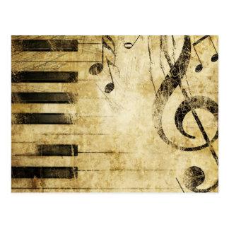 Notas de la música del piano postal