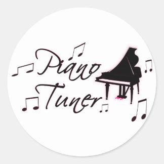 Notas de la música del sintonizador de piano con pegatina redonda