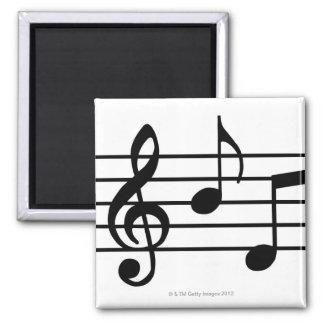 Notas de la música imán cuadrado