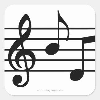 Notas de la música pegatina cuadrada