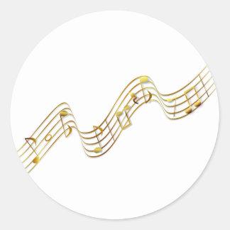 notas de la música pegatina redonda