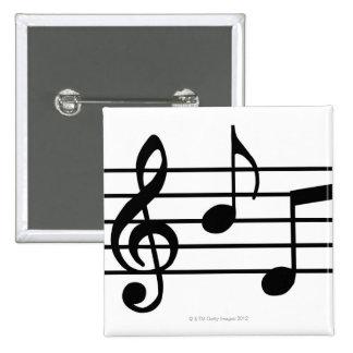 Notas de la música pin cuadrado