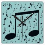 Notas de la música reloj de pared