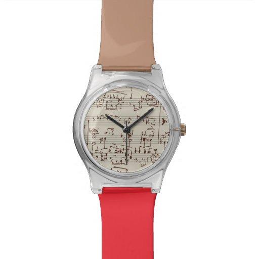 Notas de la música relojes de pulsera