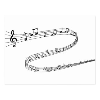 Notas de la música sobre líneas Curvy Tarjetas Postales