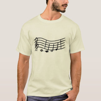Notas de la música sobre una escala ondulada, playera