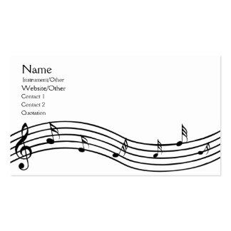 Notas de la música tarjetas de visita