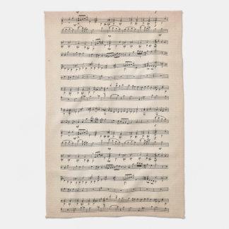 Notas de la música toallas de mano