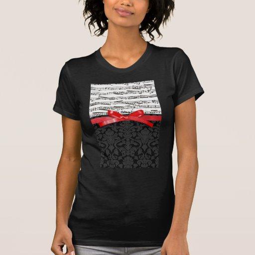 Notas de la música y falsa cinta roja camisetas