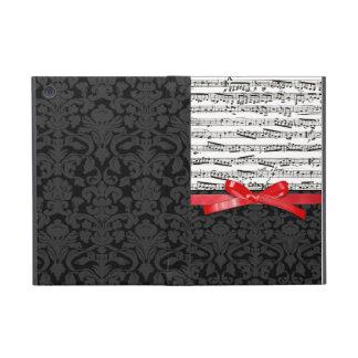 Notas de la música y falsa cinta roja iPad mini fundas