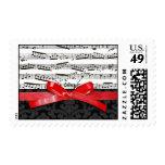 Notas de la música y falsa cinta roja sello