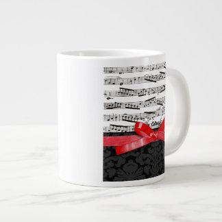 Notas de la música y falsa cinta roja tazas jumbo