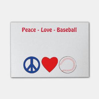 Notas de la nota del béisbol del amor de la paz post-it® nota